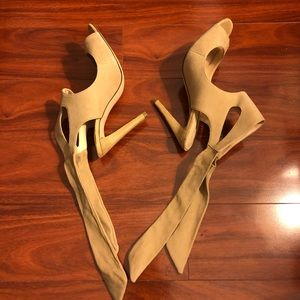 Zara women beige suede high heels sandals.